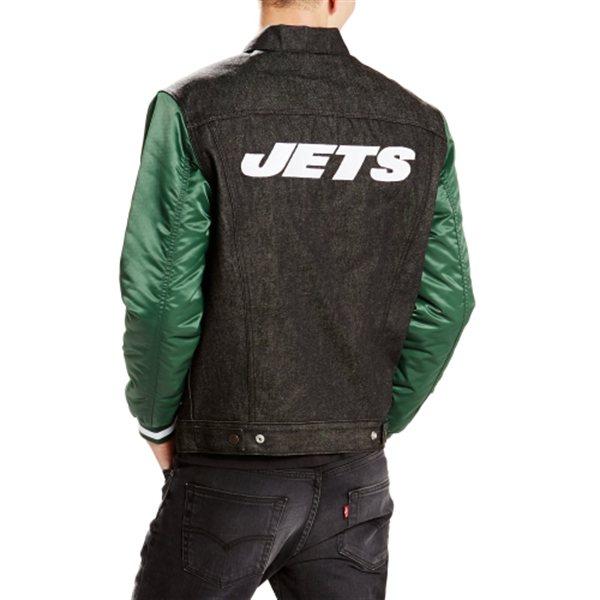 Men S New York Jets Levi S Black Denim Varsity Trucker