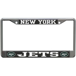 New York Jets Carbon Small Over Large Metal Acrylic Cut License Plate Frame