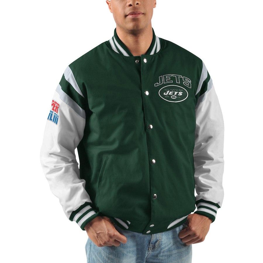 meet f5612 3ec4c Men's New York Jets G-III Sports by Carl Banks Green Home Team Cotton  Canvas Varsity Jacket