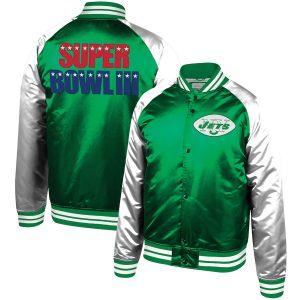 Jets Mitchell & Ness Green Super Bowl III Commemorative Tough Season Jacket