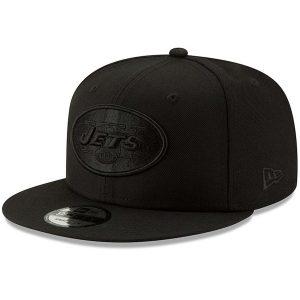 Men's New York Jets New Era Black Black On Black 9FIFTY Adjustable Hat