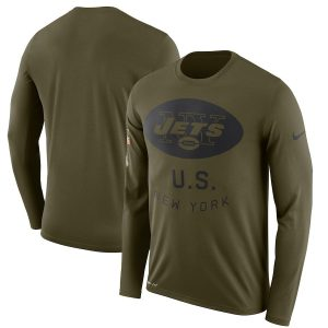 Men's New York Jets Nike Olive Salute to Service Sideline Legend Performance Long Sleeve T-Shirt