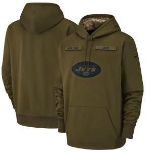 Men's New York Jets Nike Olive Salute to Service Sideline Therma Performance Pullover Hoodie