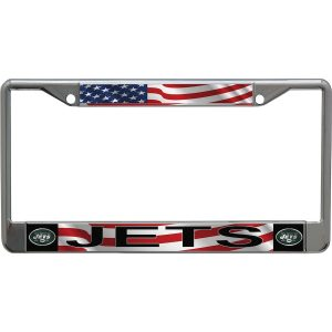 New York Jets Acrylic USA Flag License Plate Frame