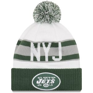 Youth New York Jets New Era White/Green Retro Cuffed Knit Hat With Pom