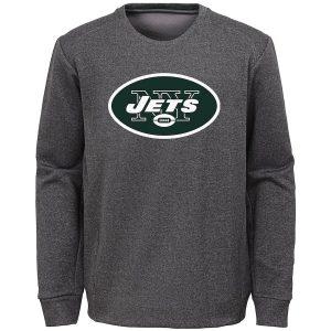 Youth New York Jets Nike Heathered Gray Fleece Crew Sweatshirt