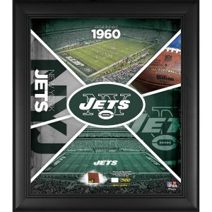 New York Jets Fanatics Authentic Framed 15″ x 17″ Team Impact Collage with a Piece of Game-Used Football – Limited Edition of 500
