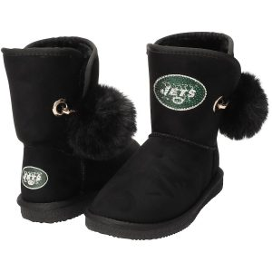 Women's New York Jets Cuce Black The Fumble Faux Fur Boots