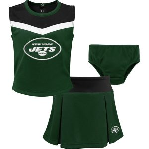 New York Jets Girls Preschool Two-Piece Spirit Cheer Cheerleader Set with Bloomers