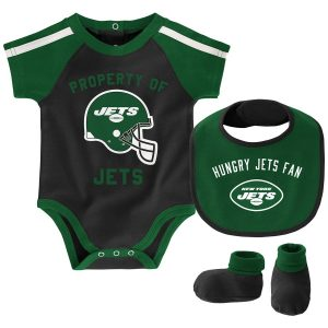 New York Jets Newborn & Infant Tackle Bodysuit, Bib & Booties Set