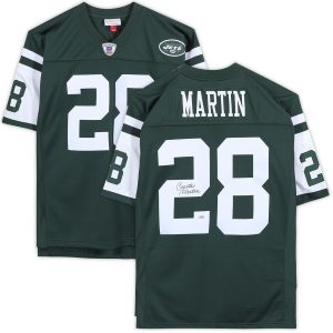 Autographed New York Jets Curtis Martin Fanatics Authentic Mitchell & Ness Green Replica Jersey