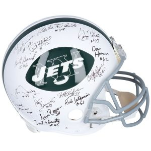 Autographed New York Jets Fanatics Authentic Throwback 1969 Riddell Authentic Helmet with 22 Signatures