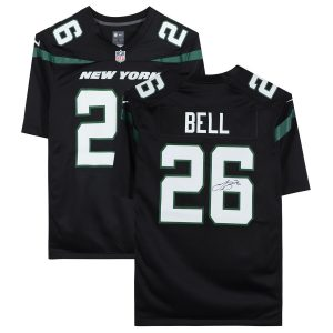 Autographed New York Jets Le'Veon Bell Fanatics Authentic Black Nike Game Jersey