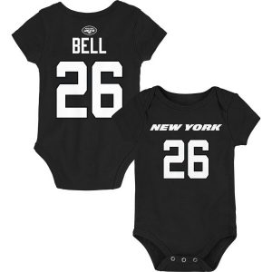 Le'Veon Bell New York Jets Newborn & Infant Mainliner Name & Number Bodysuit – Black