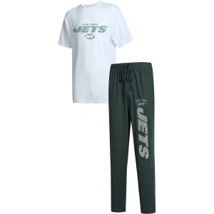 Men's New York Jets Concepts Sport Green/White Big & Tall Topic T-Shirt & Pants Sleep Set