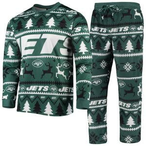Men's New York Jets Green Holiday Wordmark Ugly Pajama Set