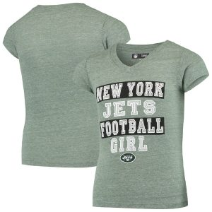 New York Jets 5th & Ocean by New Era Girls Youth Football Girl Tri-Blend V-Neck T-Shirt
