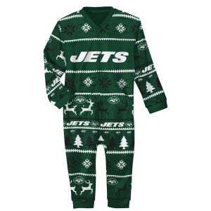 New York Jets Infant Holiday Bodysuit Pajamas – Green/Black