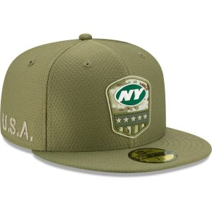 New York Jets New Era 2019 Salute to Service Sideline 59FIFTY Fitted Hat – Olive