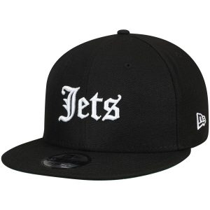 New York Jets New Era Gothic Script 9FIFTY Adjustable Snapback Hat – Black
