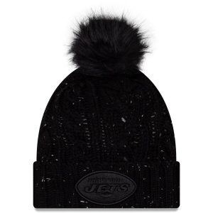 New York Jets New Era Women's Cuffed Knit Hat with Fuzzy Pom – Black
