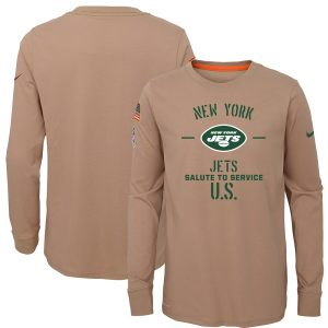 New York Jets Nike Youth 2019 Salute to Service Performance Long Sleeve T-Shirt – Khaki