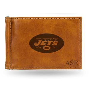 New York Jets Sparo Brown Personalized Money Clip Wallet
