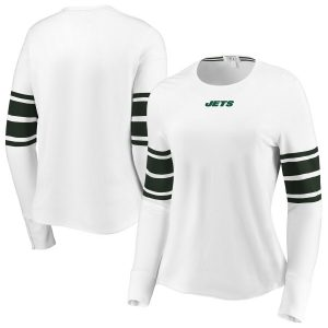 New York Jets WEAR By Erin Andrews Women's Snap Cuff Long Sleeve T-Shirt – White
