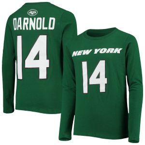 Sam Darnold New York Jets Youth Mainliner Player Name & Number Long Sleeve T-Shirt – Green