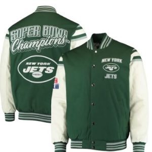 New York Jets G-III Sports by Carl Banks Victory Formation Commemorative Full-Snap Varsity Jacket – Green