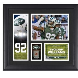 New York Jets Leonard Williams Fanatics Authentic Framed 15″ x 17″ Player Collage with a Piece of Game-Used Football