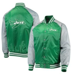 New York Jets Starter Lead Off Satin Varsity Jacket – Green/Gray